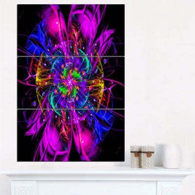 Designart Ideal Fractal Flower Digital Art In Purple Floral Triptych Canvas Art Print