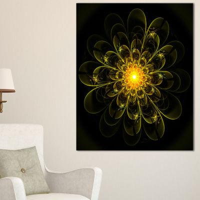 Designart Ideal Fractal Flower Digital Art In Yellow Floral Canvas Art Print