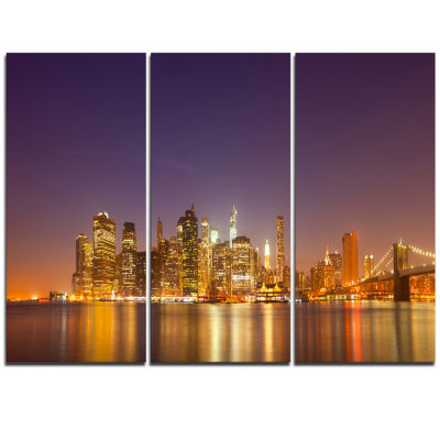 Designart Illuminated Nyc Downtown Buildings Cityscape Triptych Canvas Print
