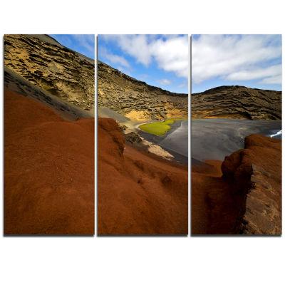 Designart In El Golfo Lanzarote Spain Musk Pond Seashore Triptych Canvas Art Print