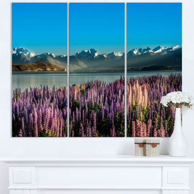 Designart Incredible Mountains Waters And FlowersLandscape Triptych Canvas Art Print