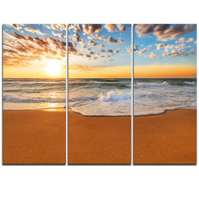 Designart Incredible Seashore Under Cloudy Sky Seascape Triptych Canvas Art Print
