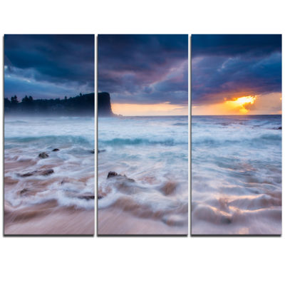 Designart Incredible Sunset With White Waves LargeSeashore Triptych Canvas Print