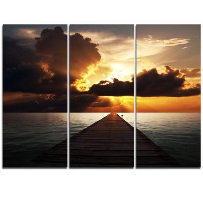 Designart Indefinite Wooden Pier To Gloomy Sea Bridge Triptych Canvas Art Print