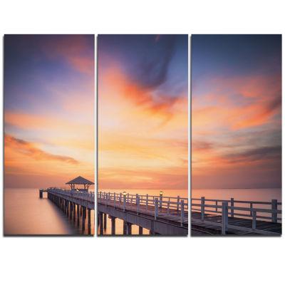 Designart Infinite Wooden Bridge Under Clouds SeaBridge Triptych Canvas Art Print