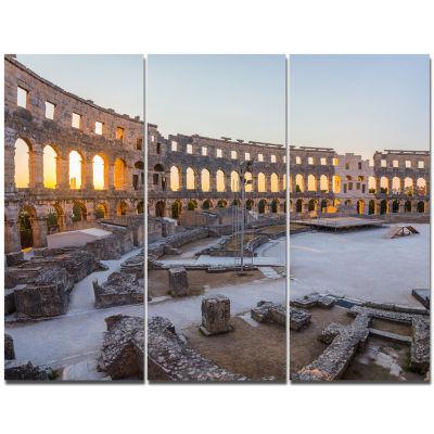 Designart Inside Ancient Roman Amphitheater Landscape Triptych Canvas Art Print