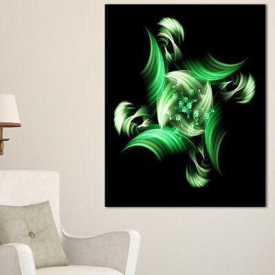 Designart Rotation Of Small World Green In BlackFloral Canvas Art Print