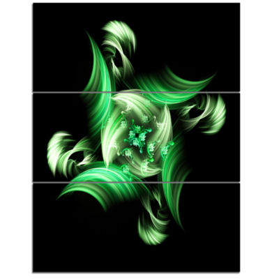 Designart Rotation Of Small World Green In BlackFloral Triptych Canvas Art Print