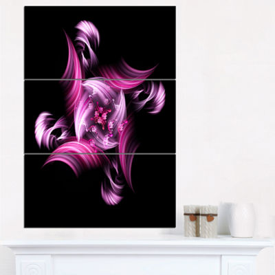 Designart Rotation Of Small World Purple In BlackFloral Triptych Canvas Art Print