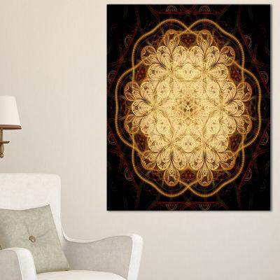 Designart Rounded Brown Fractal Flower Floral ArtCanvas Print