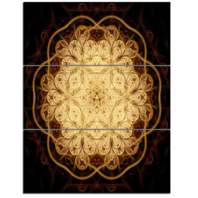 Designart Rounded Brown Fractal Flower Floral ArtTriptych Canvas Print