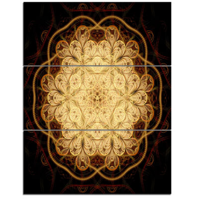 Designart Rounded Brown Fractal Flower Floral ArtTriptych Canvas Print