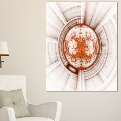 Designart Rounded Brown Fractal Flower Large Abstract Canvas Artwork