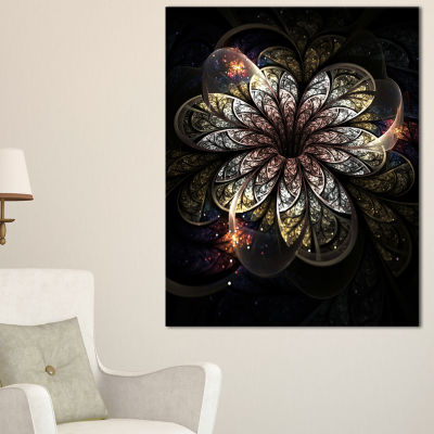 Designart Rounded Glowing Golden Fractal Flower Floral Canvas Art Print