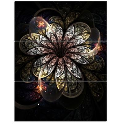 Designart Rounded Glowing Golden Fractal Flower Floral Triptych Canvas Art Print