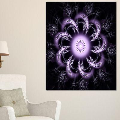 Designart Rounded Light Purple Fractal Flower Floral Canvas Art Print