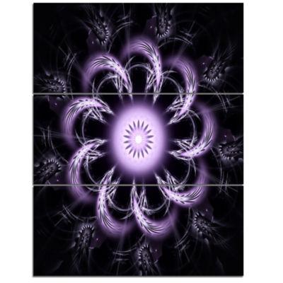 Designart Rounded Light Purple Fractal Flower Floral Triptych Canvas Art Print