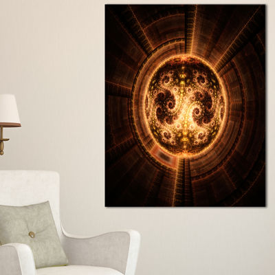 Designart Rounded Orange Glowing Fractal Flower Large Abstract Canvas Artwork