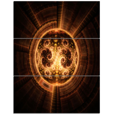 Designart Rounded Orange Glowing Fractal Flower Large Abstract Triptych Canvas Artwork