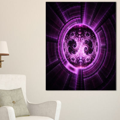 Designart Rounded Purple Glowing Fractal Flower Large Abstract Canvas Artwork
