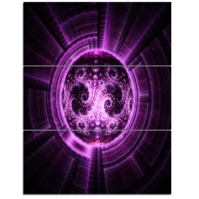 Designart Rounded Purple Glowing Fractal Flower Large Abstract Triptych Canvas Artwork