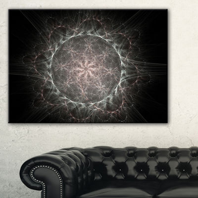 Designart Rounded Silver Glowing Fractal Flower Floral Canvas Art Print