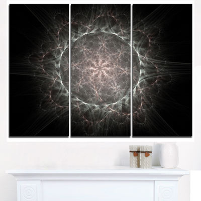 Designart Rounded Silver Glowing Fractal Flower Floral Triptych Canvas Art Print