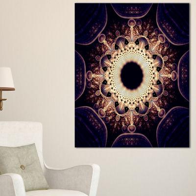Designart Rounded Symmetrical Yellow Fractal Flower Floral Canvas Art Print