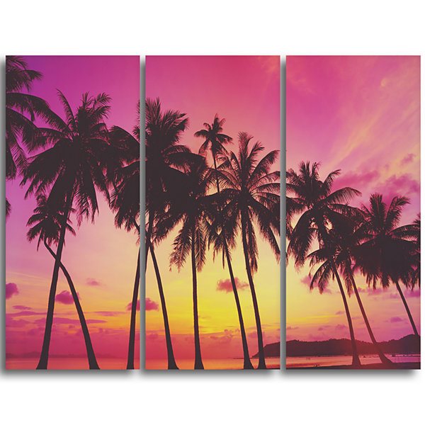 Design Art Row Of Beautiful Palms Under Magenta SkyExtra Large Wall Art Landscape