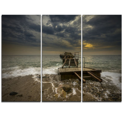 Design Art Ruined Wooden Pier For Boats At SunsetSea Bridge Triptych Canvas Art Print