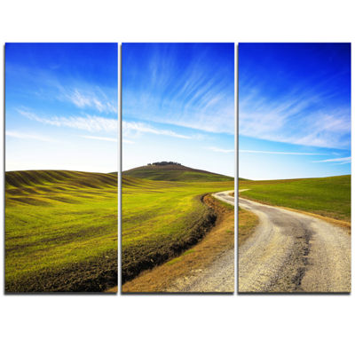 Designart Rural Road And Olive Trees Uphill Landscape Print Wall Artwork