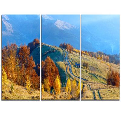 Designart Rural Road On Autumn Mountains LandscapeTriptych Canvas Art Print