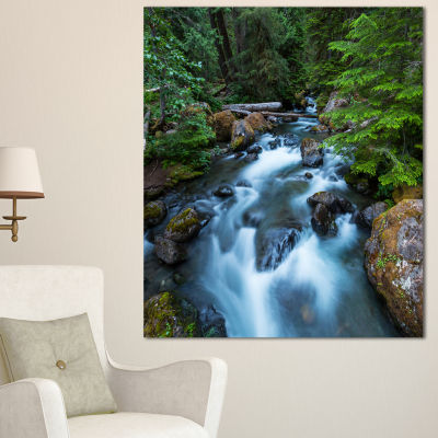 Designart Rushing Water In Forest Creek Extra Large Landscape Canvas Art