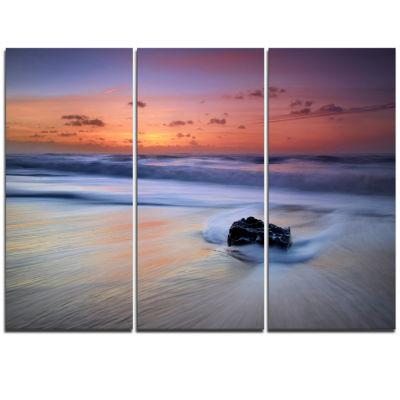 Designart Rushing Waves At Beach Magoito Sintra Seashore Triptych Canvas Art Print