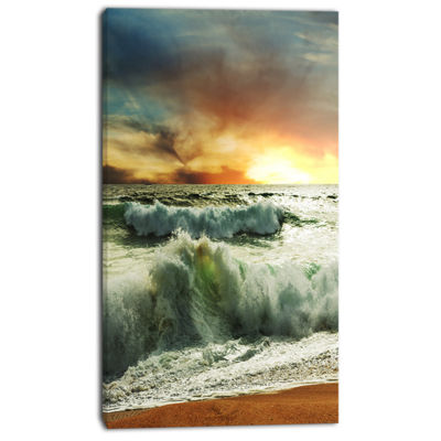 Designart Rushing Waves In Evening Beach Large Seashore Canvas Print