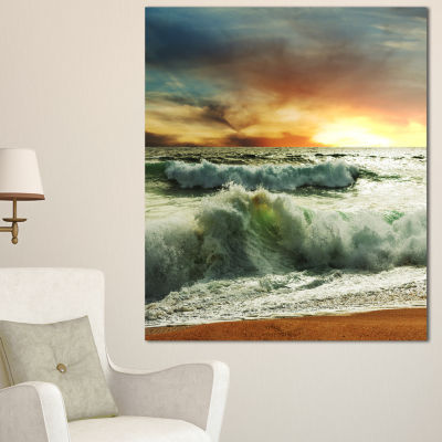 Designart Rushing Waves In Evening Beach Large Seashore Canvas Print - 3 Panels