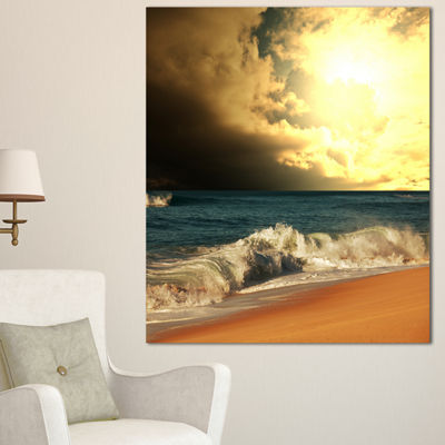 Designart Rushing Waves Under Cloudy Sky SeashoreCanvas Art Print - 3 Panels