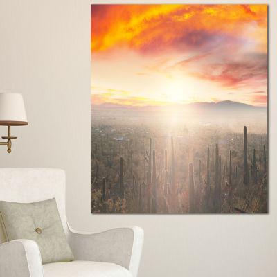 Designart Saguaro Cactus At Colorful Sunset Oversized Landscape Canvas Art - 3 Panels