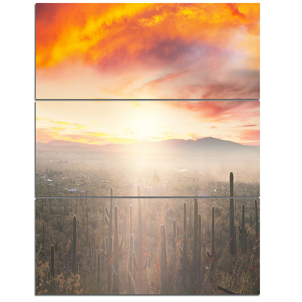 Designart Saguaro Cactus At Colorful Sunset Oversized Landscape Canvas Art - 3 Panels