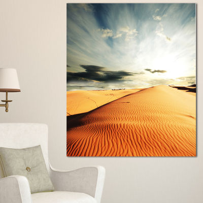 Design Art Sahara Desert And Cloudy Sky OversizedLandscape Canvas Art