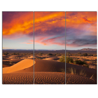 Designart Sahara Dunes Under Colorful Sky Landscape Wall Art On Canvas - 3 Panels