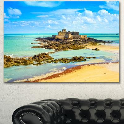 Designart Saint Malo Fort National Beach SeascapeCanvas Art Print
