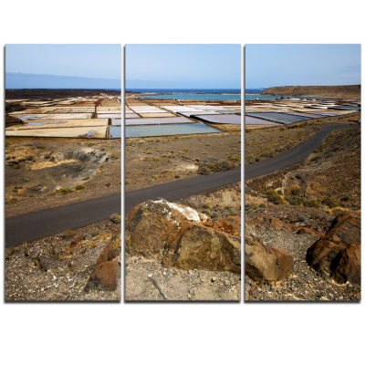 Designart Salt In Lanzarote Spain Musk Pond Seashore Triptych Canvas Art Print