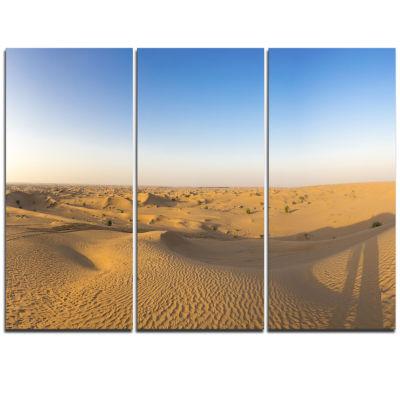 Designart Sand Dunes Desert In Dubai Landscape Artwork Triptych Canvas