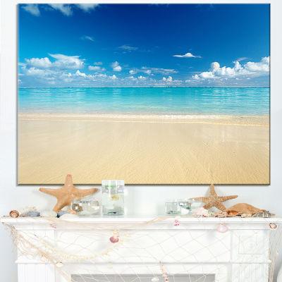 Designart Sand Of Beach In Calm Caribbean Shore Modern Seascape Canvas Artwork