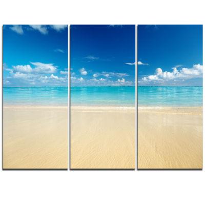 Designart Sand Of Beach In Calm Caribbean Shore Modern Seascape Triptych Canvas Artwork