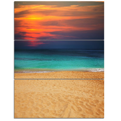 Designart Sand To Sky Colorful Seashore Modern Beach Triptych Canvas Art Print