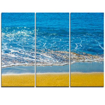 Designart Sandy Beach And Calm Blue Sea Surf Seashore Triptych Canvas Art Print