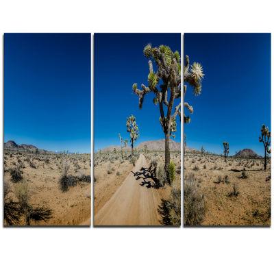 Designart Sandy Desert Road Panorama Oversized Landscape Wall Art Print