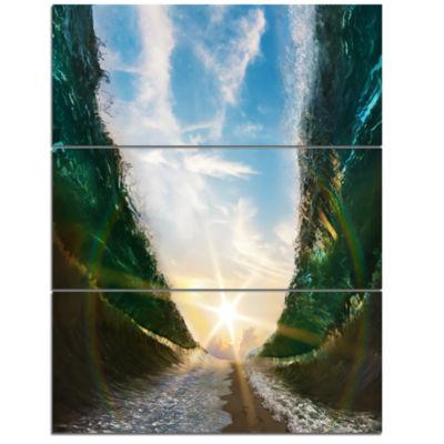 Design Art Sandy Path To The Sun In Parted Sea Seascape Triptych Canvas Art Print
